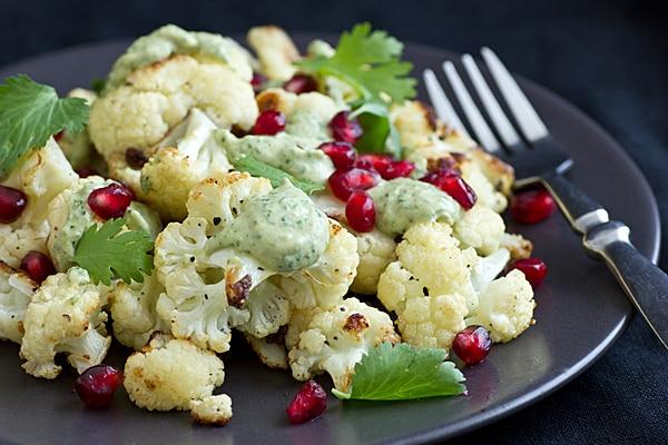 Fried Cauliflower with Tahini & Pomegranate Seeds