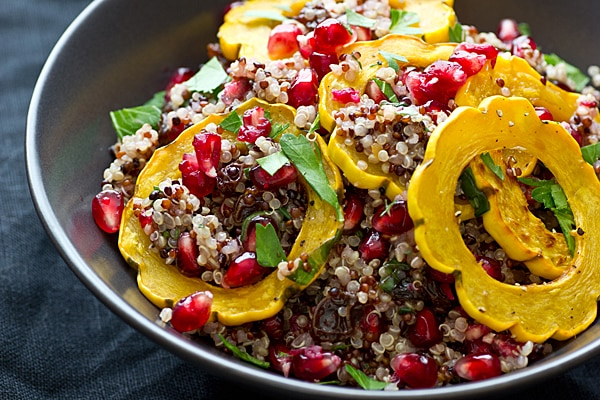 Quinoa with Delicata Squash & Pomegranate