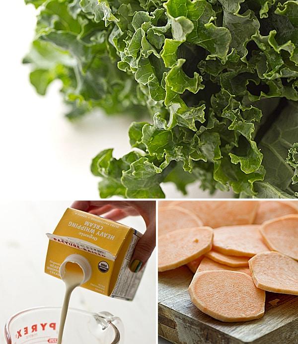 Sweet Potato & Kale Gratin Ingredients