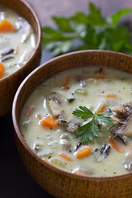 Creamy Wild Mushroom Rice Soup