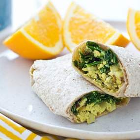Freezer-Friendly Greens & Tofu Scramble Wraps Recipe