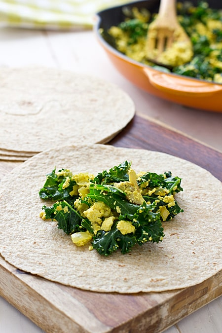 Greens & Tofu Scramble Wraps