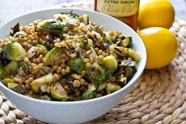 Lemony Wheat Berries with Roasted Brussels Sprouts | No Fuss Ways To Prepare Wheat Berries