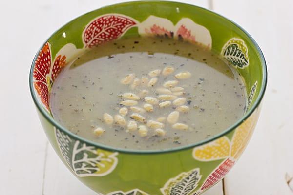 Pesto Potato Soup with Toasted Pine Nuts