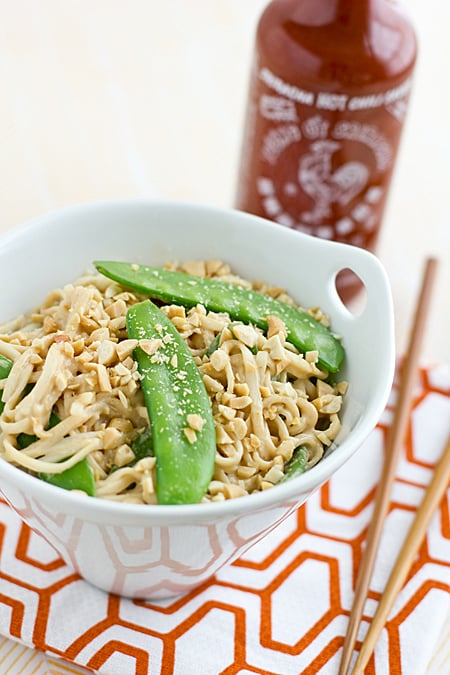 Peanut Udon Noodles with Snow Peas