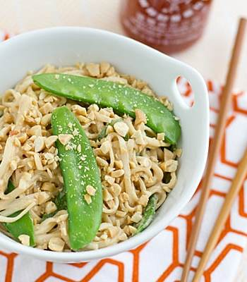Peanut Udon Noodles with Snow Peas Recipe