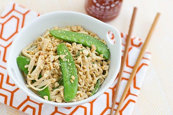 Peanut Udon Noodles with Snow Peas Recipe