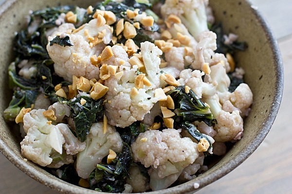 Saute of Cauliflower & Mustard Greens with Peanuts