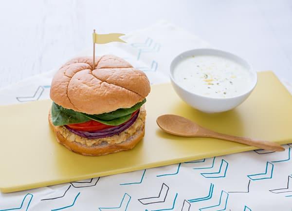 Cauliflower Hummus Burger with Mint Tzatziki Recipe