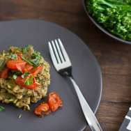 Pesto Quinoa & White Bean Cakes with Roasted Tomatoes Recipe