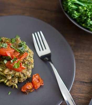 Pesto Quinoa & White Bean Cakes with Roasted Tomatoes Recipe