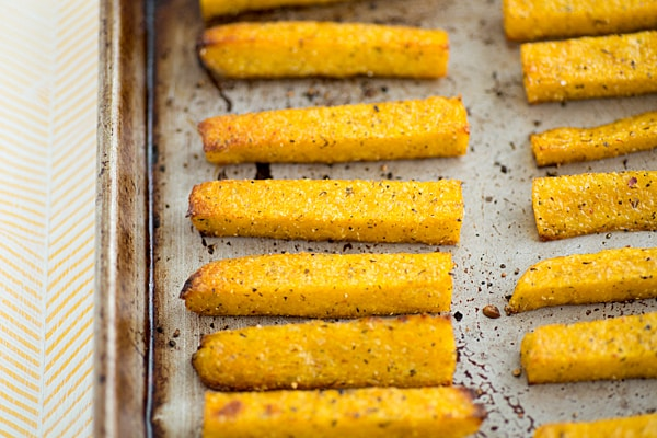 Polenta Fries on Baking Sheet