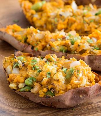 Samosa Stuffed Sweet Potatoes