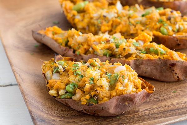 Samosa Stuffed Sweet Potatoes