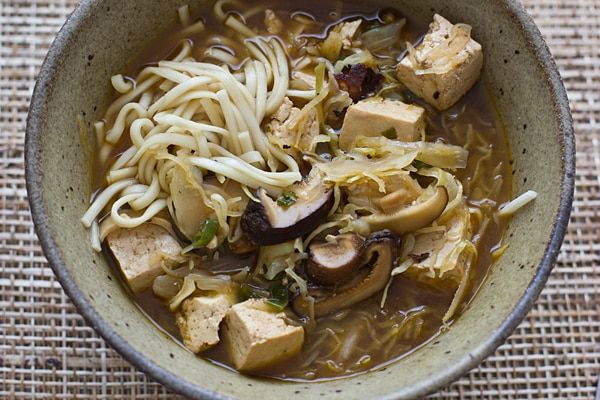 Shiitake and Cabbage Noodles with Tofu