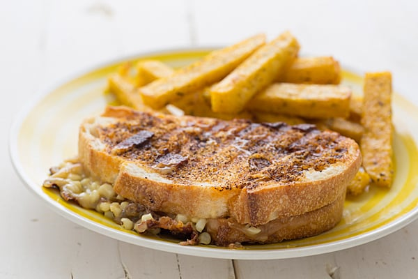 Sweet Corn Grilled Cheese with Smoked Gouda, Scallions, and Chile Butter