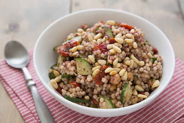 Roasted Tomato and White Bean Couscous with Roasted Garlic & Kalamata Olive Vinaigrette