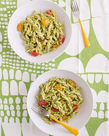 Pasta with Cilantro Jalapeño Pesto, Fresh Corn & Tomatoes