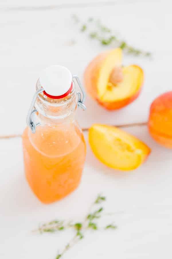Peach Thyme Syrup, iced tea