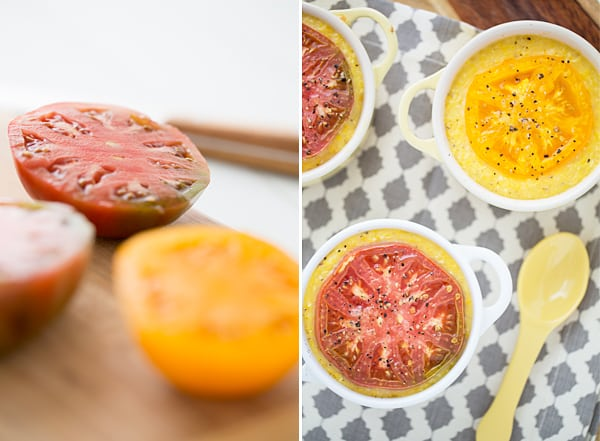 Smoked Cheddar Grits with Broiled Heirloom Tomatoes