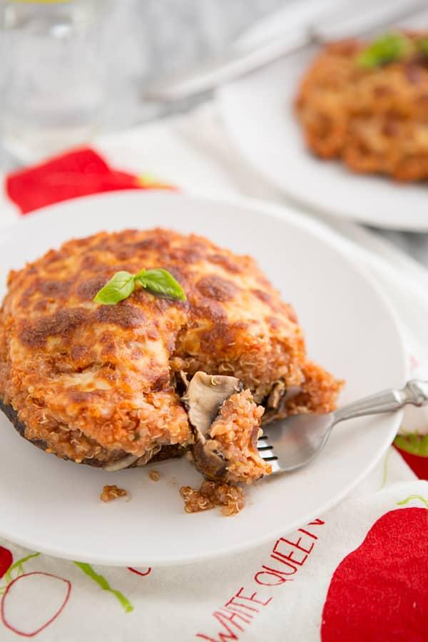 Pizza Quinoa Stuffed Portabella Mushrooms