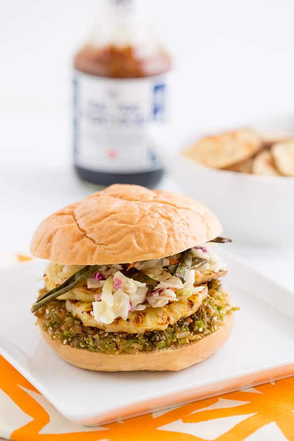 Teriyaki-Glazed Brown Rice & Edamame Burgers with Grilled Pineapple and Crispy Green Onions