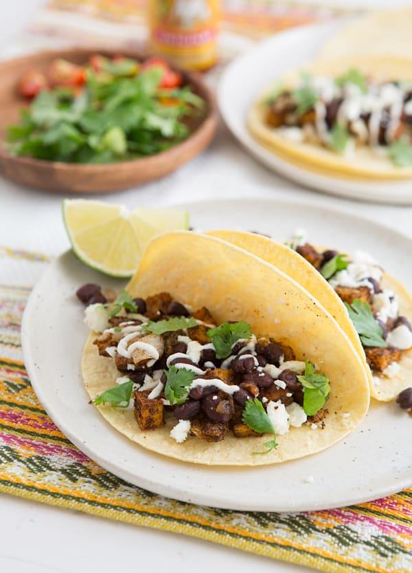Roasted Sweet Potato & Black Bean Tacos
