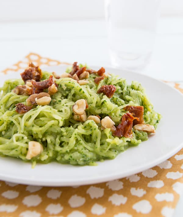 Spaghetti Squash with Garlicky Kale Pesto & Sun-Dried Tomatoes