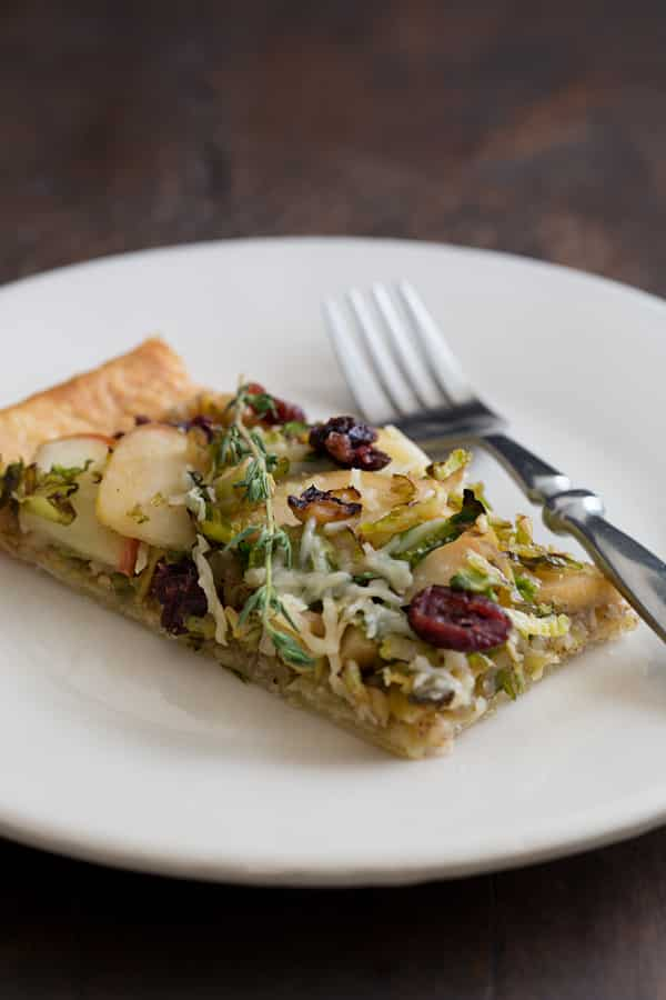 Brussels Sprout and Apple Tart with Walnut Pesto and Cranberries