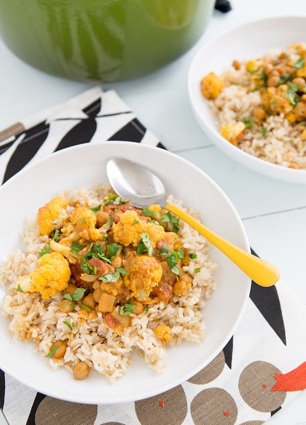 Cauliflower and Chickpea Coconut Curry