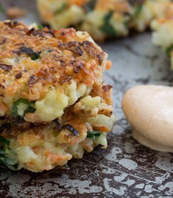 Crispy Cauliflower Carrot Fritters with Smoky Garlic Aioli Recipe