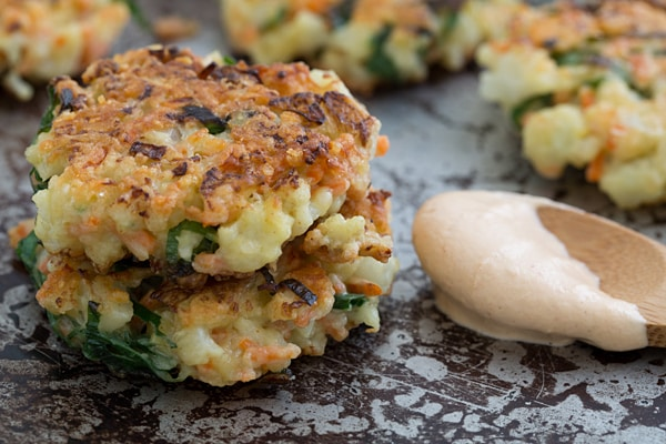 Crispy Cauliflower Carrot Fritters with Smoky Garlic Aioli Recipe