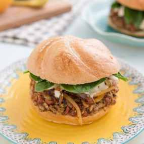 Freekeh Bean Burgers with Harissa Onions Recipe