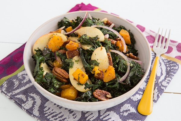 Roasted Butternut Squash and Kale Salad with Orange Sage Dressing