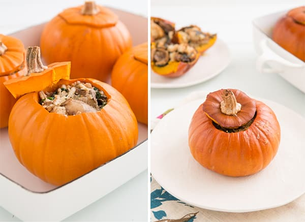 Baked Pumpkins with Spinach, Mushrooms & Cheese