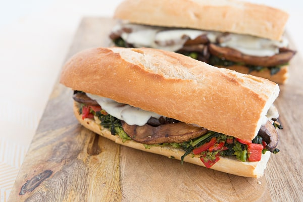 Philly-Style Broccoli Raab, Provolone, and Portabella Sandwiches
