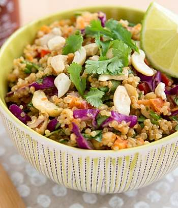 Thai Cashew Quinoa with Ginger Peanut Sauce
