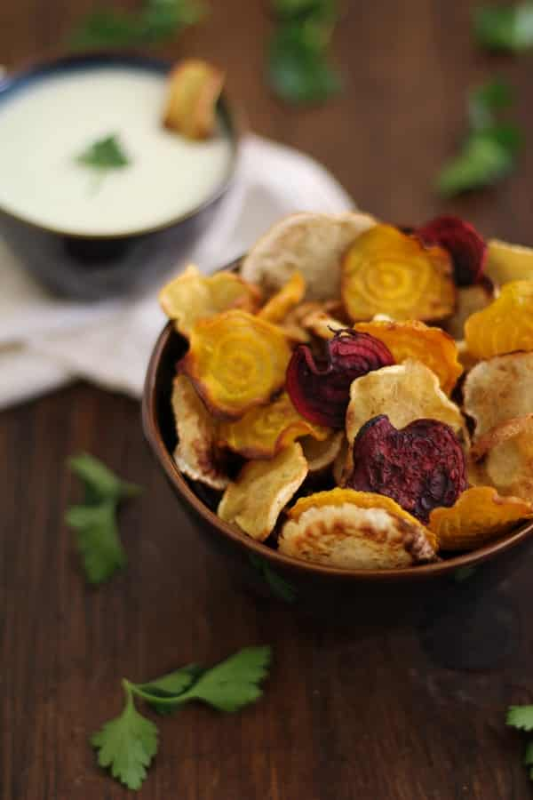 Baked Root Vegetable Chips with Buttermilk-Parsley Dipping Sauce
