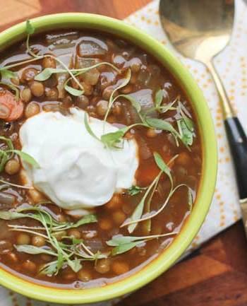 Lentil Soup With Lemon Yogurt Cream