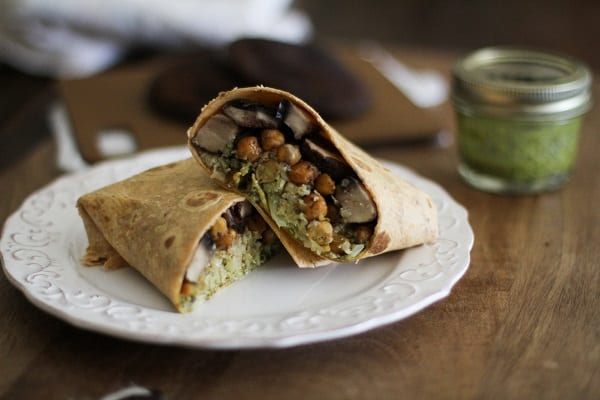 Roasted Portabella and Chickpea Burritos with Chimichurri Sauce and cauliflower rice