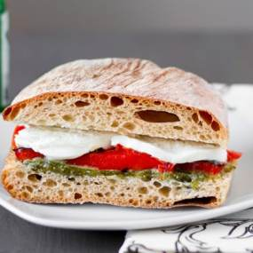 Roasted Red Pepper and Mozzarella Sandwiches with Arugula Pesto Recipe