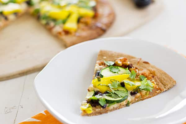 Spicy Mango Pizza with Black Beans and Zucchini