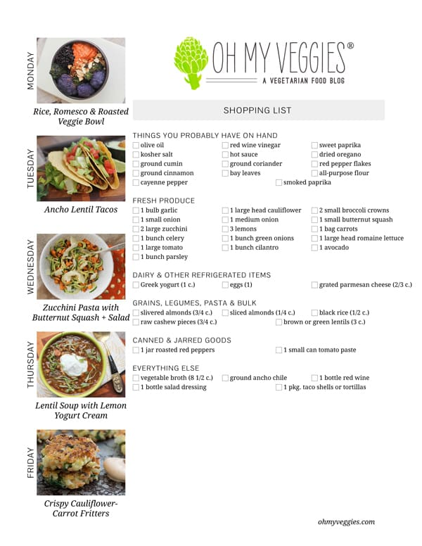 Vegetarian Meal Plan and Shopping List - 03.03.14