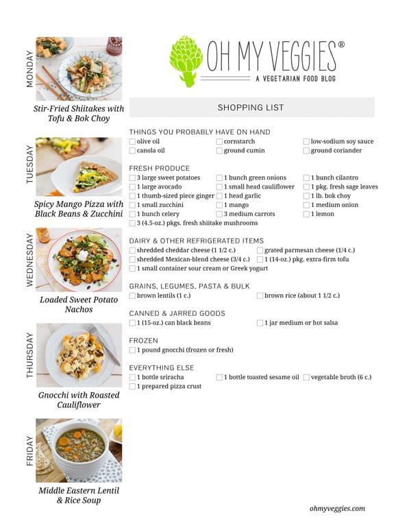 Vegetarian Meal Plan & Shopping List - 02.17.14