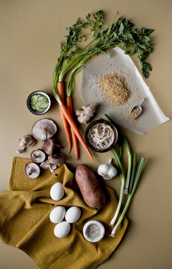 Sweet Potato Bibimbap Ingredients