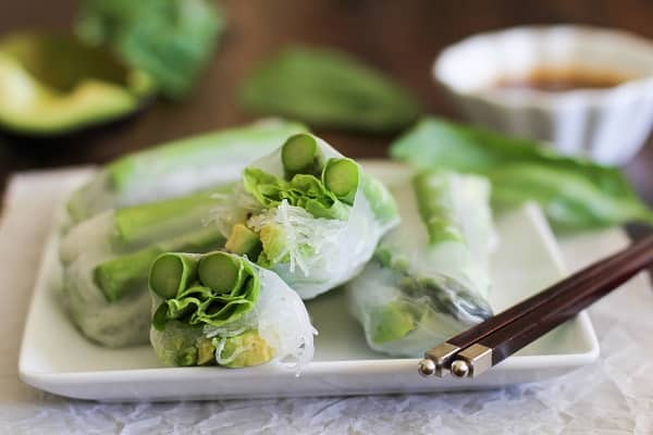 Asparagus and Avocado Spring Rolls with Citrus Dipping Sauce