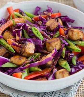Red Cabbage Bowl with Tofu & Peanut-Sriracha Sauce