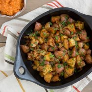 Smoky Braised Potatoes with Spicy Romesco Sauce Recipe