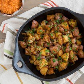 Smoky Braised Potatoes with Spicy Romesco Sauce Recipe