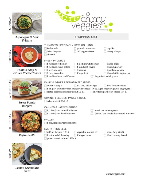 Vegetarian Meal Plan & Shopping List - 04.14.14